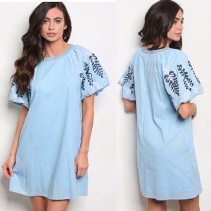 Short Ruffled Sleeve Embroidery Detail Tunic Dress
